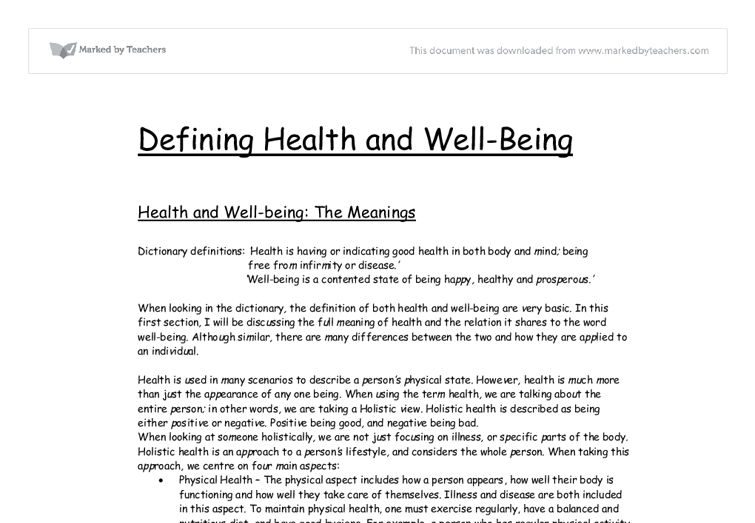 Health and well being essay