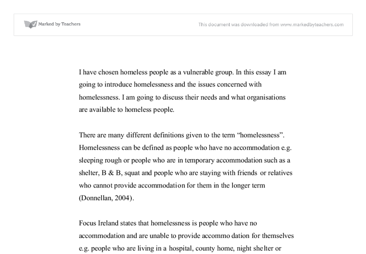 i have chosen homeless people as a vulnerable group in this essay document image preview