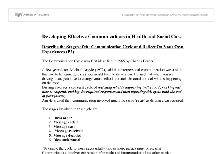 Developing Effective Communications In Health And Social Care  Document Image Preview