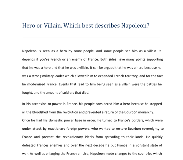 was napoleon a hero or a villain gcse history marked by  document image preview