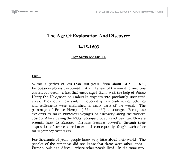 the age of exploration and discovery gcse history marked by  document image preview