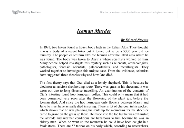 otzi the iceman essay conclusion