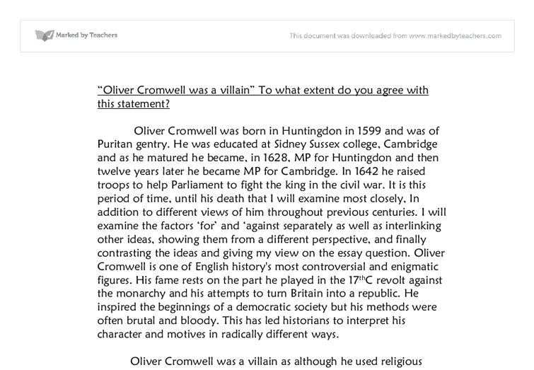 Oliver cromwell essay