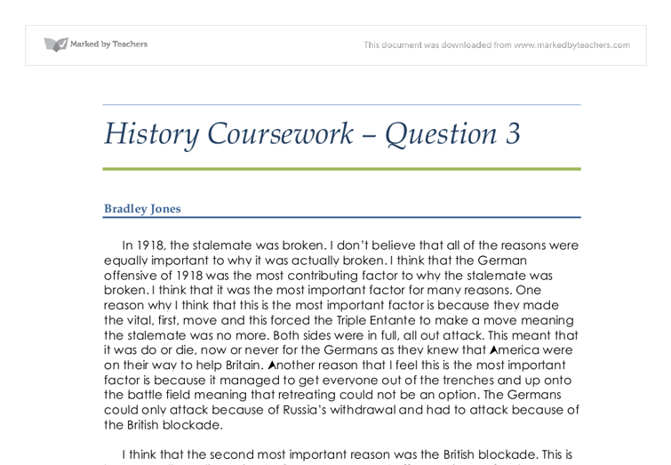 gcse history coursework questions