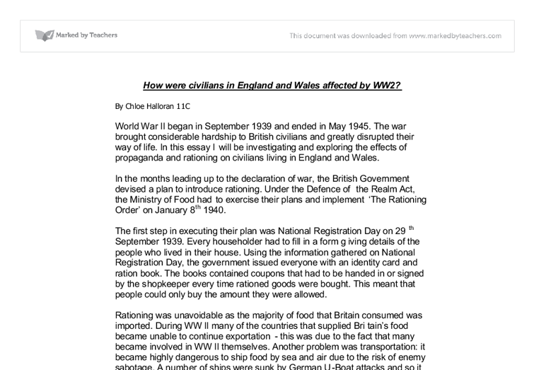 how did ww effect civilians in england and wales gcse history  document image preview