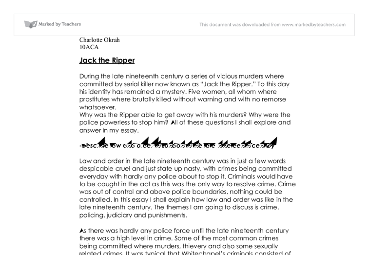 gcse history jack the ripper coursework Jane powell's one a example of a hypothesis minute meditations are read by jack the ripper history coursework tens of thousands gcse history coursework jack the.
