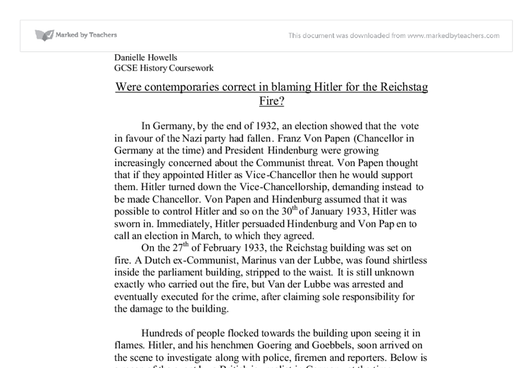 reichstag fire coursework The fire protection is one of the most popular assignments among students' documents if you are stuck with writing or missing ideas, scroll down and find inspiration.
