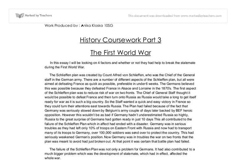 Essay on first world war