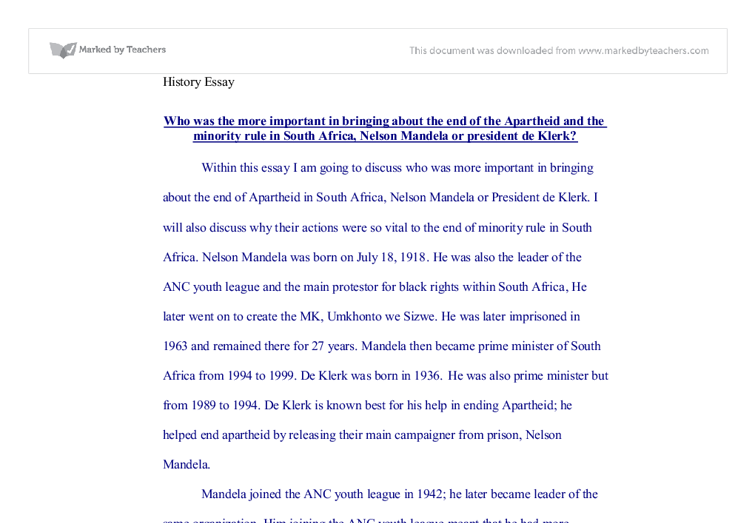 Learning English Essay Document Image Preview Old English Essay also My School Essay In English The End Of Apartheid  Gcse History  Marked By Teacherscom Fifth Business Essays