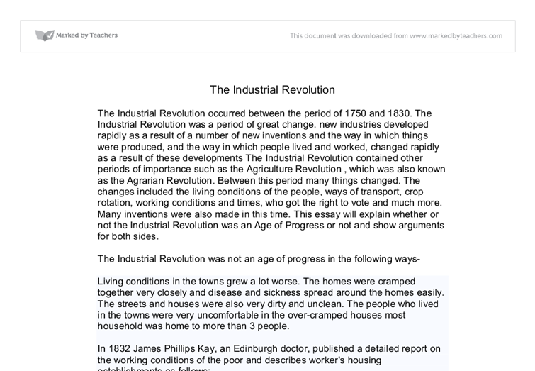 essay on effects of industrial revolution