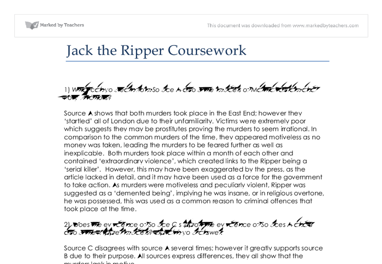 student essays on jack the ripper The identity of the whitechapel murderer, who has gone into legend as jack the ripper remains a mystery to this day in this investigation, students will methodically build up a own profile of the murderer based on the evidence that survives.