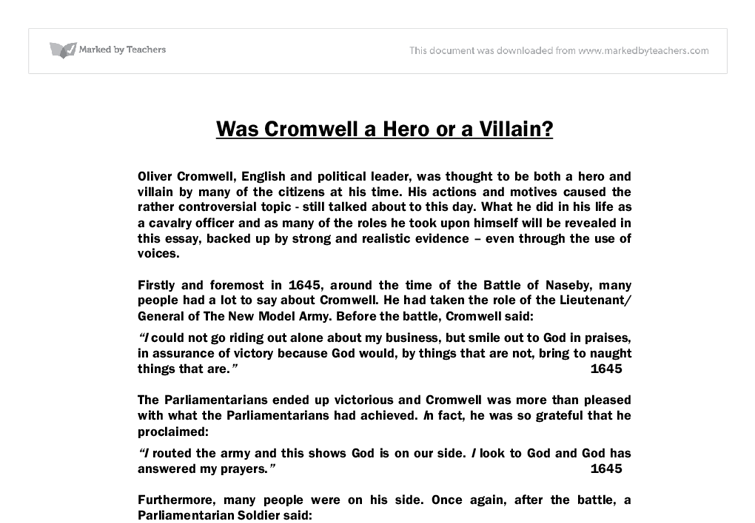 was cromwell a hero or a villain gcse history marked by document image preview