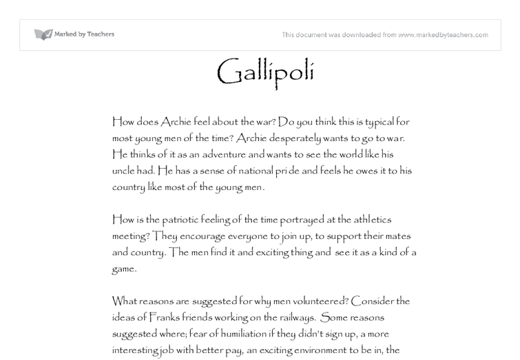 gallipoli campaign essays Historical sources assessment resource: model of a persuasive essay  how  did the gallipoli campaign impact on australian society and contribute to the.