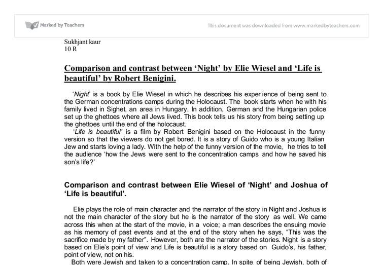 comparison and contrast between night by elie wiesel and life is  document image preview