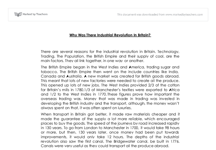 why was there industrial revolution in britain gcse history  document image preview