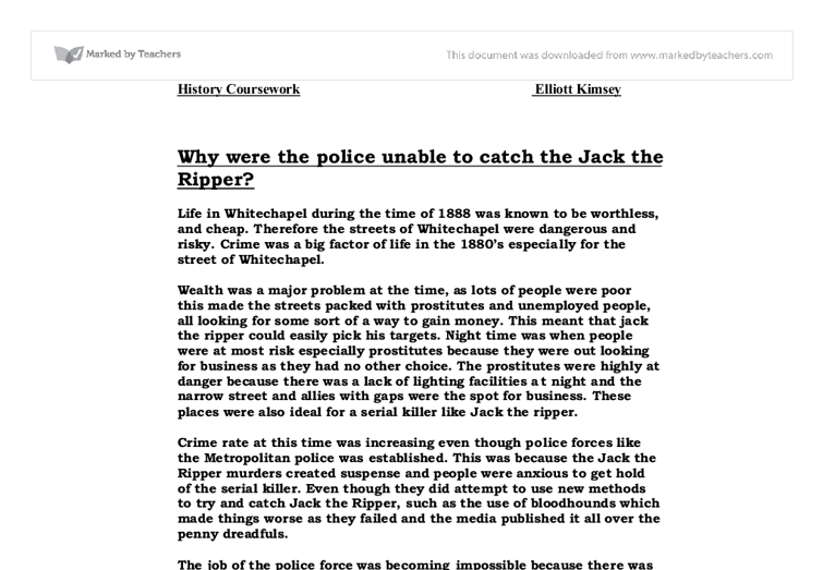 Why were the police unable to catch jack the ripper 2 essay