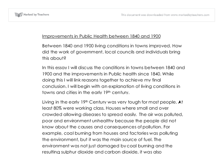 improvements in public health  gcse history  marked by teacherscom document image preview