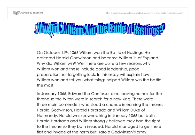 battle of hastings essay introduction Battle of hastings essays: over 180,000 battle of hastings essays, battle of hastings term papers, battle of hastings research paper, book reports 184 990 essays, term and research papers available for unlimited access.