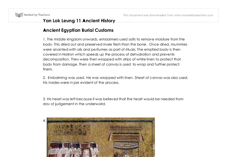 ancient egyptian burial customs essay