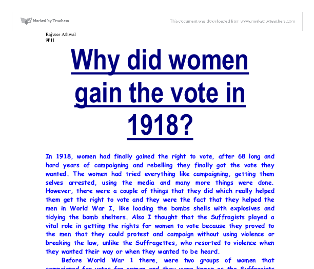 did women get vote 1918 essay