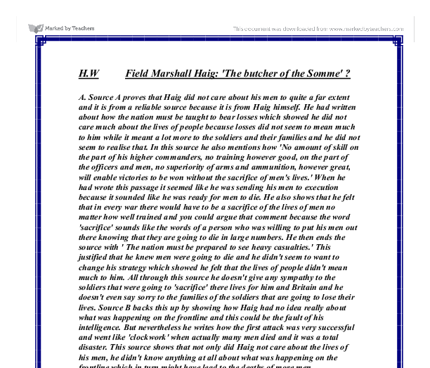 Field marshal haig butcher of the somme essay
