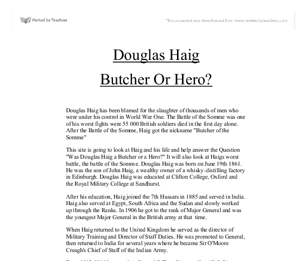 was haig the butcher of the somme essay