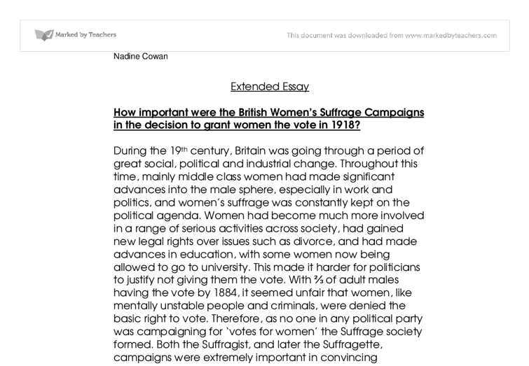 extended essay women gcse history marked by teachers com document image preview