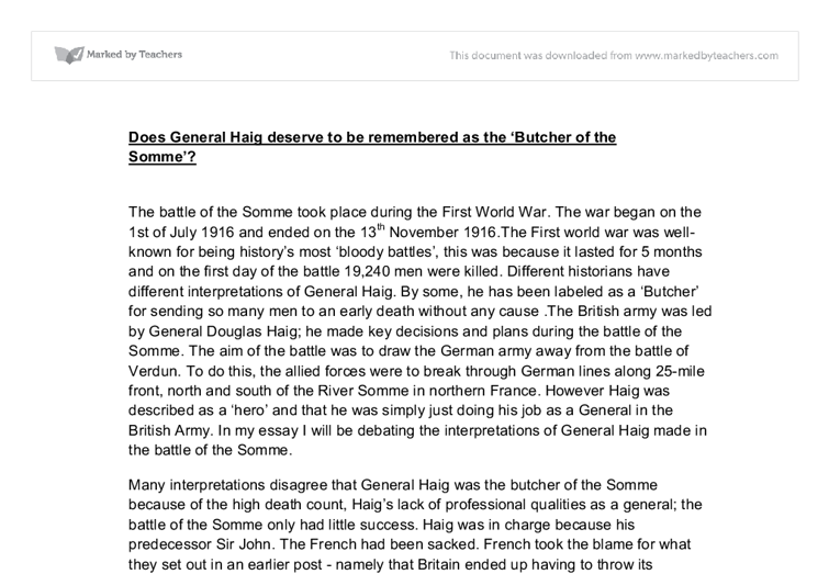 how successful was the battle of the somme essay Free essay: haig's reputation as the butcher of the somme in the run up to the war the battle of somme essay reputation or success.
