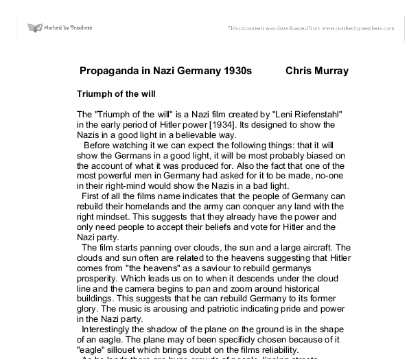 essay on propaganda in nazi germany Free nazi germany papers the purpose of this essay is to explain whether nazi germany was a totalitarian state methods of propaganda the nazi used was.
