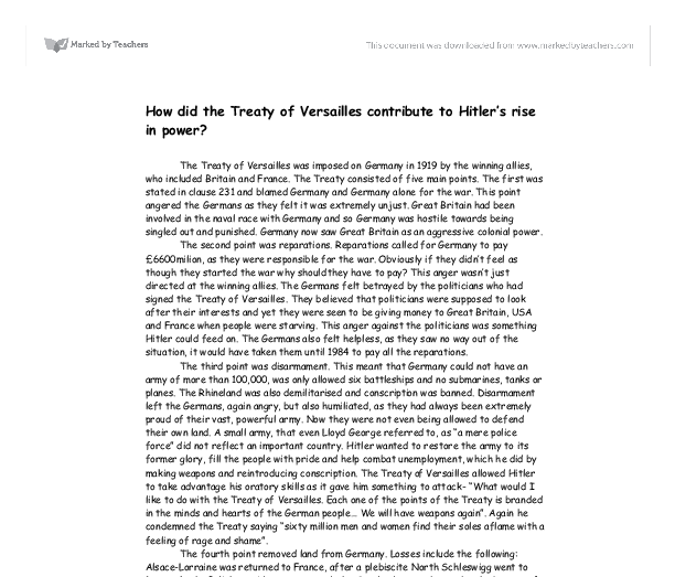 How did the treaty of versailles help hitler