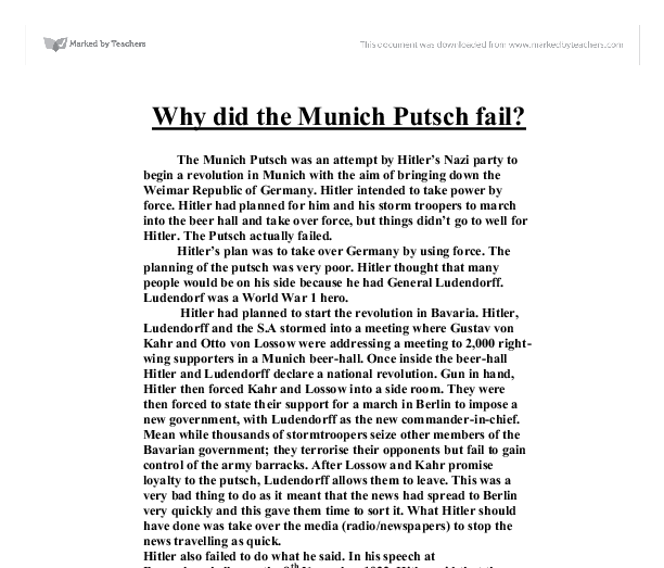 Was the Munich Putsch of 1923 a success? Essay Sample