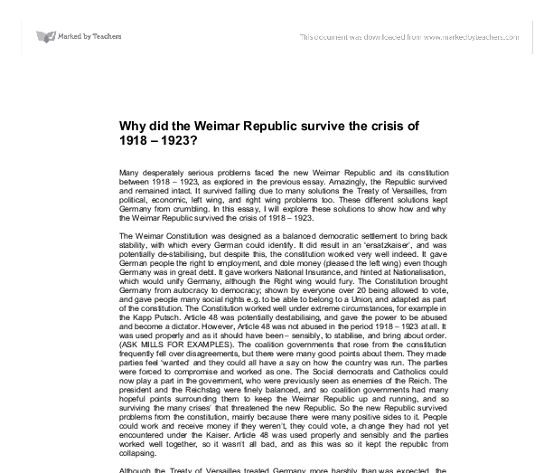 explain why 1923 difficult year weimar republic