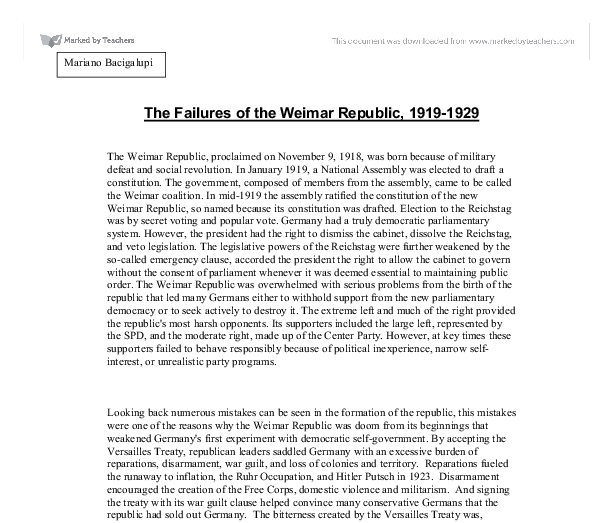 weimar republic from 1919 to 1929 essay Essays & papers strengths and weaknesses of weimar strengths and weaknesses of weimar republic how successful was the weimar republic from 1924 to 1929.