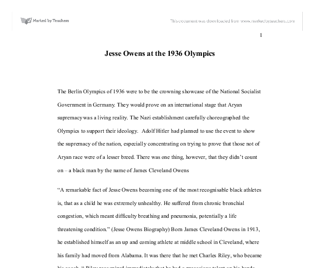 jesse owens at the olympics gcse history marked by  document image preview