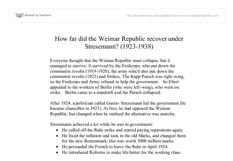 The Fall of Weimar Republic essay