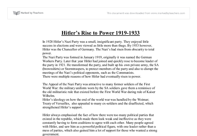 What led to the rise of hitler essay