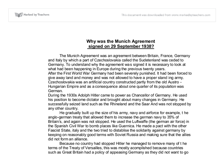 Why Was The Munich Agreement Signed On 29 September 1938 Gcse