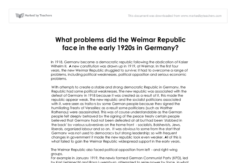 Weimar republic problems essay
