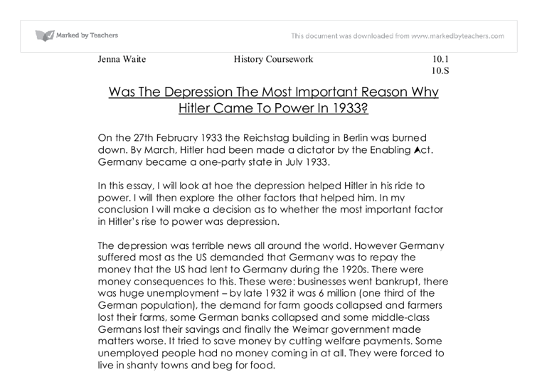 was the depression the most important reason why hitler came to  document image preview