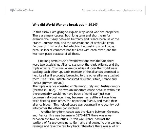 why did first world war break out august 1914 any one part
