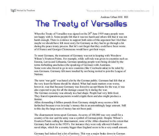 the treaty of versailles should not be abolished in germany