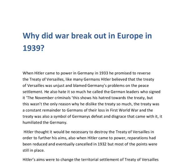 why did war break out in europe in 1939 essay There are several reasons why war broke out in europe in 1939here  other countries make the break out of war  out in europe in 1939 or why did war.