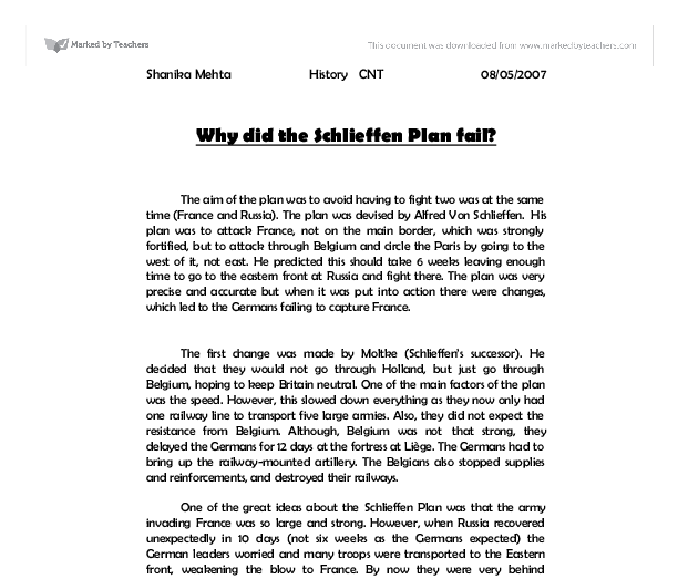an overview of the schlieffen plan history essay A secondary school revision resource for gcse history about modern world history, international relations, causes of world war one and the schlieffen plan.