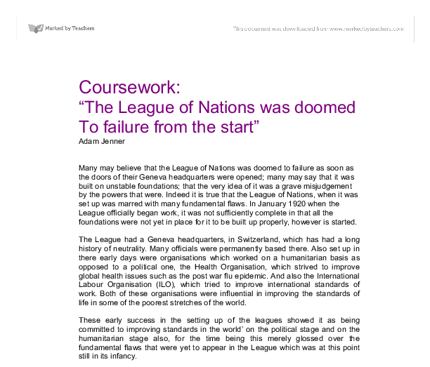 which was more important for the failure of the league of nations? essay Although this aim was the most important the league  what were the successes and failures of the league  weaknesses and failure of the league of the nations.