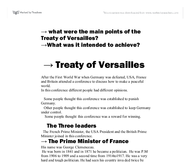 Treaty of versailles homework help