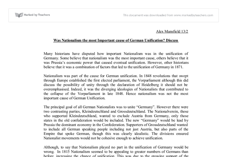 was nationalism the most important cause of german unification  document image preview