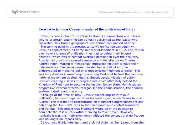 essay on cavour