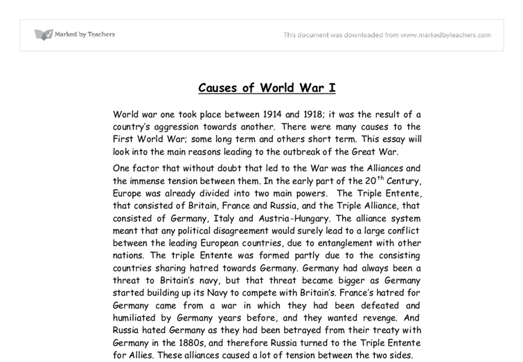 Short essay on first world war