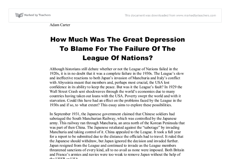 Essay on the great depression