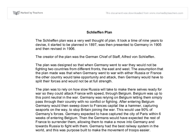 essay on the schlieffen plan